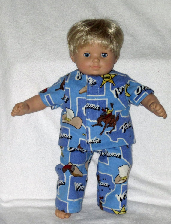 American Girl Bitty Baby Boy Doll Handmade Blue Rodeo Cowboy Pajamas Sheriff