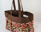 BLOWOUT SALE -- Pink, Green and Brown Leaves Pleated Purse --Read to Ship Same Day--