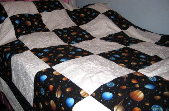 New handmade twin size solar system outer space planets minky for Outer space quilt