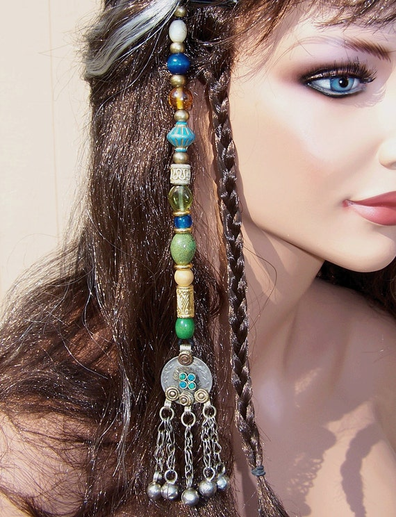 Jack Sparrow Potc Style Hair Bead Dangle In Blue And Green For
