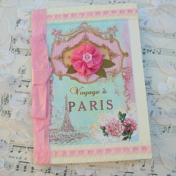 Shabby Chic Card  Paris Voyage with  Pink Flower Handmade by Enchanted Quilling on Etsy