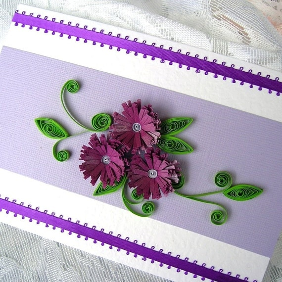 Paper Quilling Fringed Flowers Paper Quilled Purple Fringed
