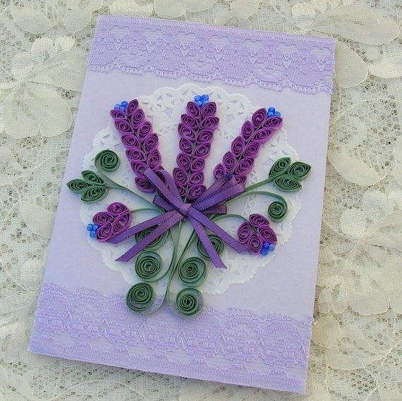 Quilling Card Paper Quilled Personalized LAVENDER Spray Paper Doily Mothers Day Birthday Anniversary Handmade by Enchanted Quilling on Etsy