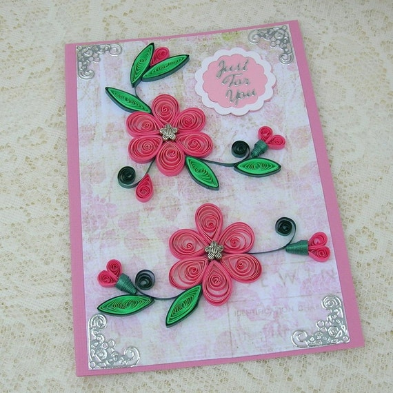 Paper Quilled Greeting Card Paper Quilling Greeting Pink