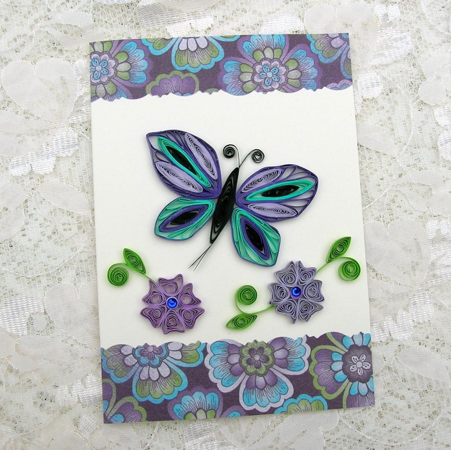 quilled greeting card paper quilled turquoise and deep purple