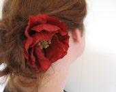 Red Poppy Glam Hair Pin