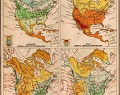 Store Closing (50% OFF) Vintage 1940s North America Temperatures and Rainfall Map. Ready to Frame. (No. 450)