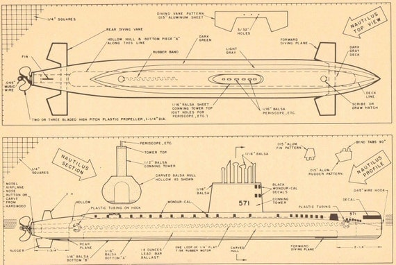 Diving Submarines. Vintage Model Boat Plans in Black and Sepia. Set of ...