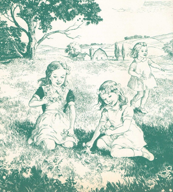 Vintage Print. Girls in a Teal Field. Ready to Frame. (No. 202)