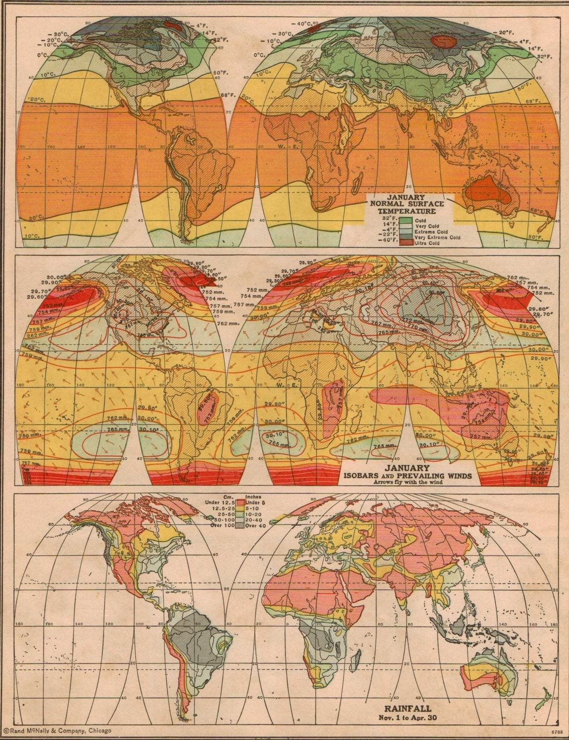 Vintage 1940s World Climate Map Ready to Frame No 460
