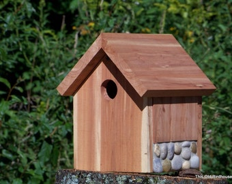 Cedar Birdhouse with Stone Foundation -- 1 1/4 inch Entry