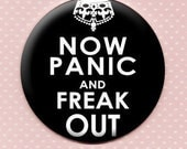 Now Panic and Freak Out  -black- Pocket Mirror
