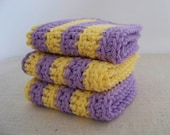 Dish Cloths, Cotton. - Crocheted 3 Piece Set. Lavender and Lemon, Purple and Yellow.
