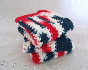 Crocheted Dishcloths, Cotton. Red, White, and Blue Americana. 3 Piece Set.