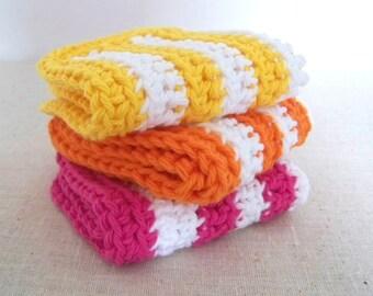 Dish Cloths, Cotton Crochet. Yellow, Pink, Orange Stripes, 3 Piece Set