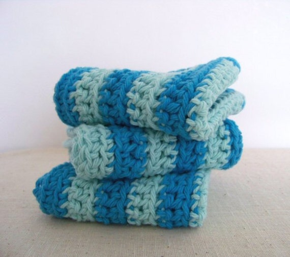 Dish Cloths, Cotton - Robins Egg Blue and Cerulean Stripes - Crocheted 3 Piece Set
