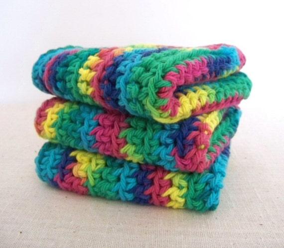 Cotton Dish Cloths - Rainbow - Crocheted 3 Piece Set