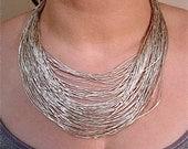 Vintage Liquid Silver Necklace Sterling Choker 75 Strands Original Box