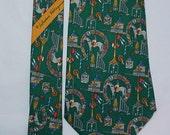 Vintage FERRAGAMO Silk Tie Green Equestrian Pattern Italy