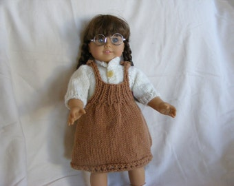 Knitted American Girl Doll Taupe Jumper and White Blouse