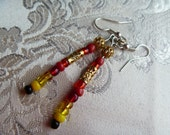 Golden Passion: Earrings, beaded dangle