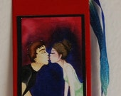 Kissing couple bookmark\/gift tag