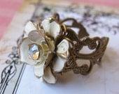 SWEET Reclaimed Vintage Winter White Enameled Flower and Crystal AB Rhinestone Brass Ox Jewel Ring