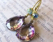 Rare Vintage Amethyst Glass Pear and Chrysolite AB Glass Rhinestone Earrings-Estate Style