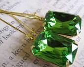 Peridot Green Estate Style Jeweled Drop Glass Glam Earrings