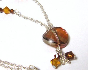 Necklace Twist bead Swarovski Crystal Copper and Charms