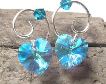 Heart Stud Earrings Aquamarine Swarovski Crystal and Silver