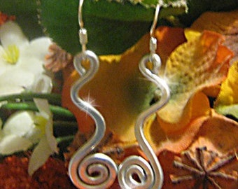 Earrings Silver  Spiral Wave Bright Metal Wire Hammered