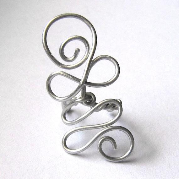Earcuff  Waves Silver Aluminium hypo alergenic