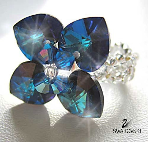 Crystal Ring Swarovski Bermuda Blue Romantic Heart  Flower