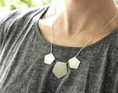 Sterling Silver Pentagon Necklace with A Snake Chain - Geometric Statement Necklace