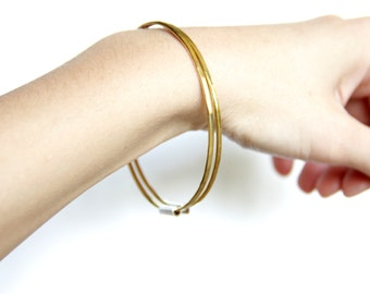 Thin Brass and Sterling Silver Bangles, Set of Two, Stackable Bangle Set, Minimalist Bangles