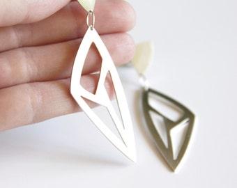 Sterling Silver Statement Earrings, Triangle Geometric Cut-Out Earrings, Gift for her, Silver Lotus Earrings, Minimalist Earrings