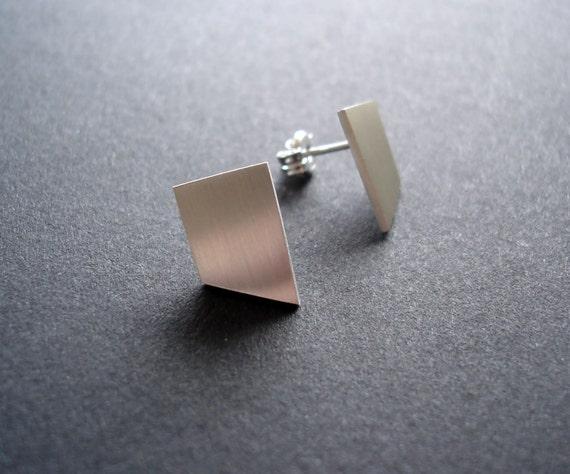 Japanese blade silver stud earrings