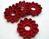 4 Christmas Ornaments -- Bright Red Blossoms