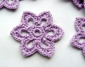 5 Crochet Applique Flowers -- 2 inch Diameter, in Lilac Purple
