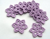 8 Crochet Flower Appliques -- 2 inch Diameter, in Lilac Purple