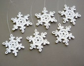 6 Small Crochet Snowflakes -- Snowflake B54, in White