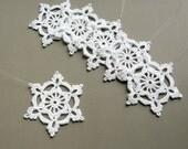 6 Crochet Snowflake Ornaments -- Large Snowflake B84, in White