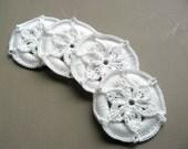 4 Crochet Christmas Ornaments -- White Medallions