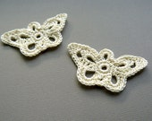 2 Crochet Butterfly Appliques -- Cream Longwing