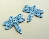 2 Crochet Dragonfly Appliques -- Delft Blue
