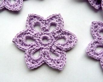 5 Crochet Applique Flowers -- 2 inch Diameter, in Lilac Purple