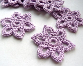 5 Crochet Flower Appliques -- 1-3/8 inch Diameter, in Lilac Purple