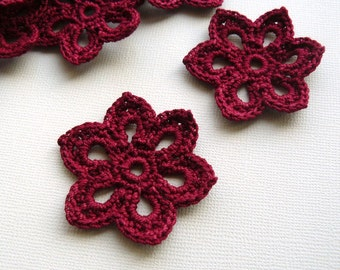 5 Crochet Flower Appliques -- 2 inch Diameter, in Burgundy