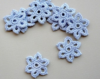 15 Crochet Flower Appliques -- 1-3/8 inch Diameter, in Cornflower Blue